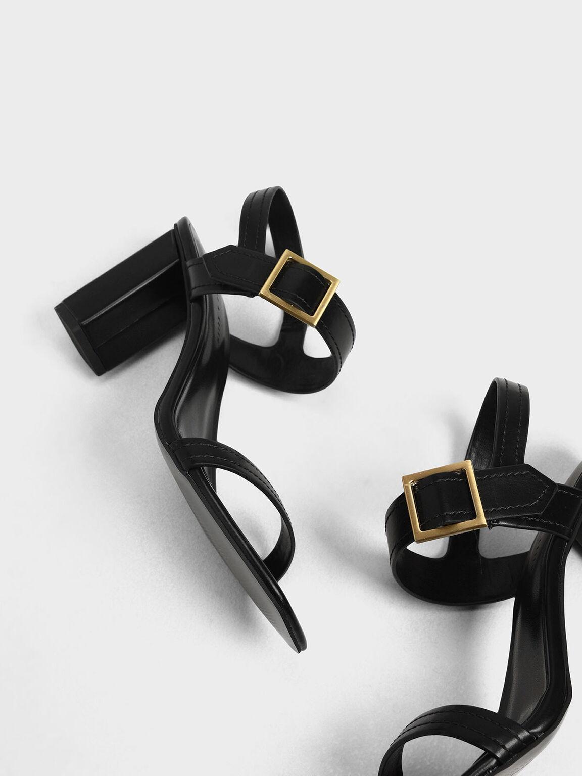 Buckle Detail Block Heel Sandals, Black, hi-res