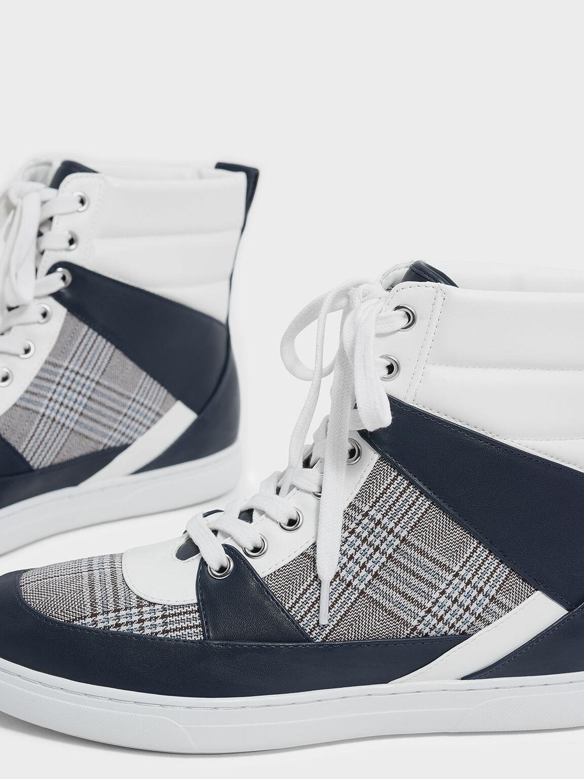 Pointed High Cut Sneakers, Dark Blue, hi-res