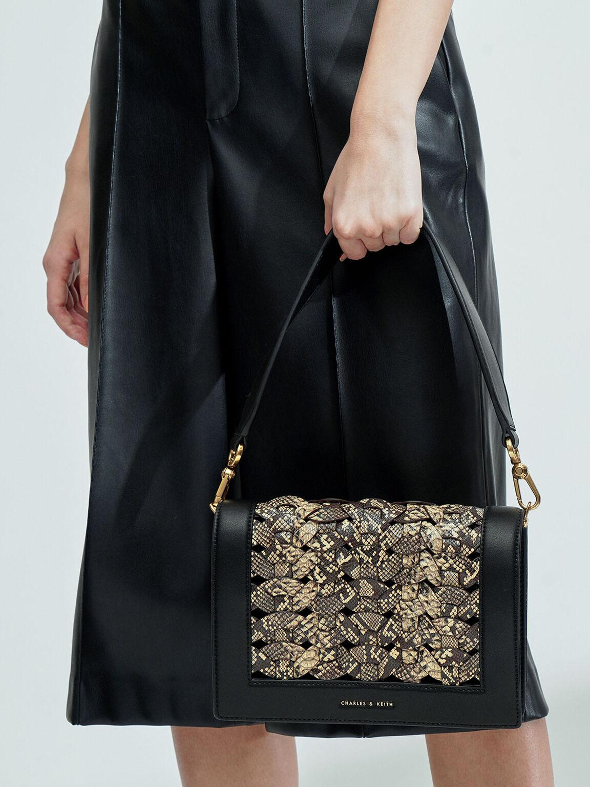蛇紋編織肩背包, 混色, hi-res