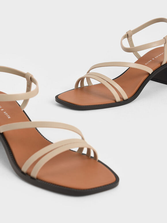 Strappy Open Toe Heeled Sandals, Beige, hi-res