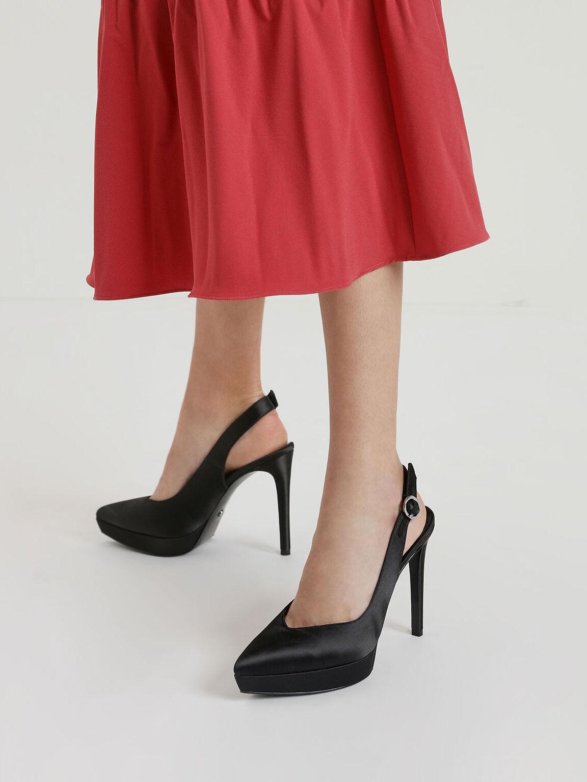 緞面厚底高跟鞋, 黑色, hi-res