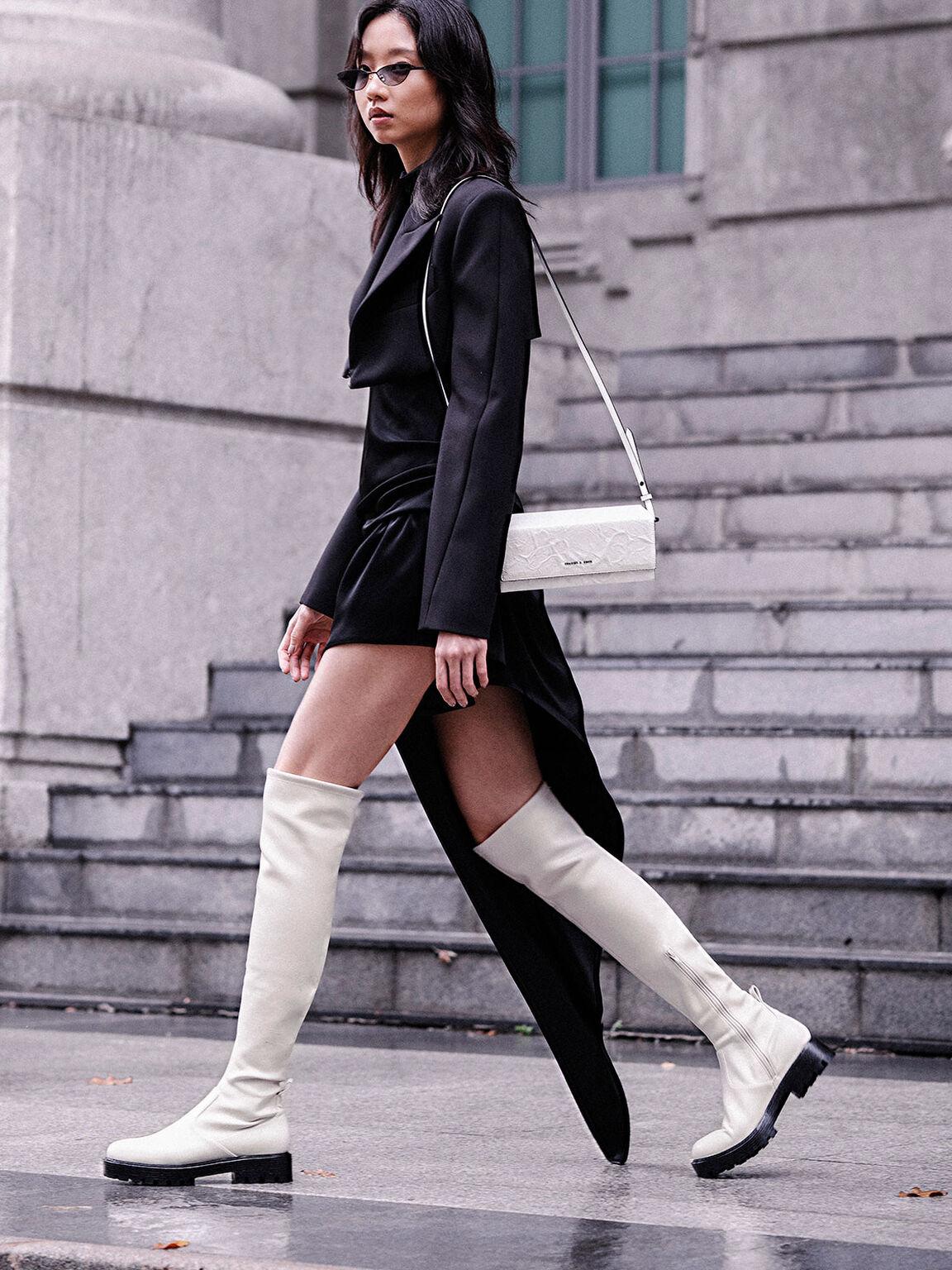 Thigh High Platform Boots, Chalk, hi-res