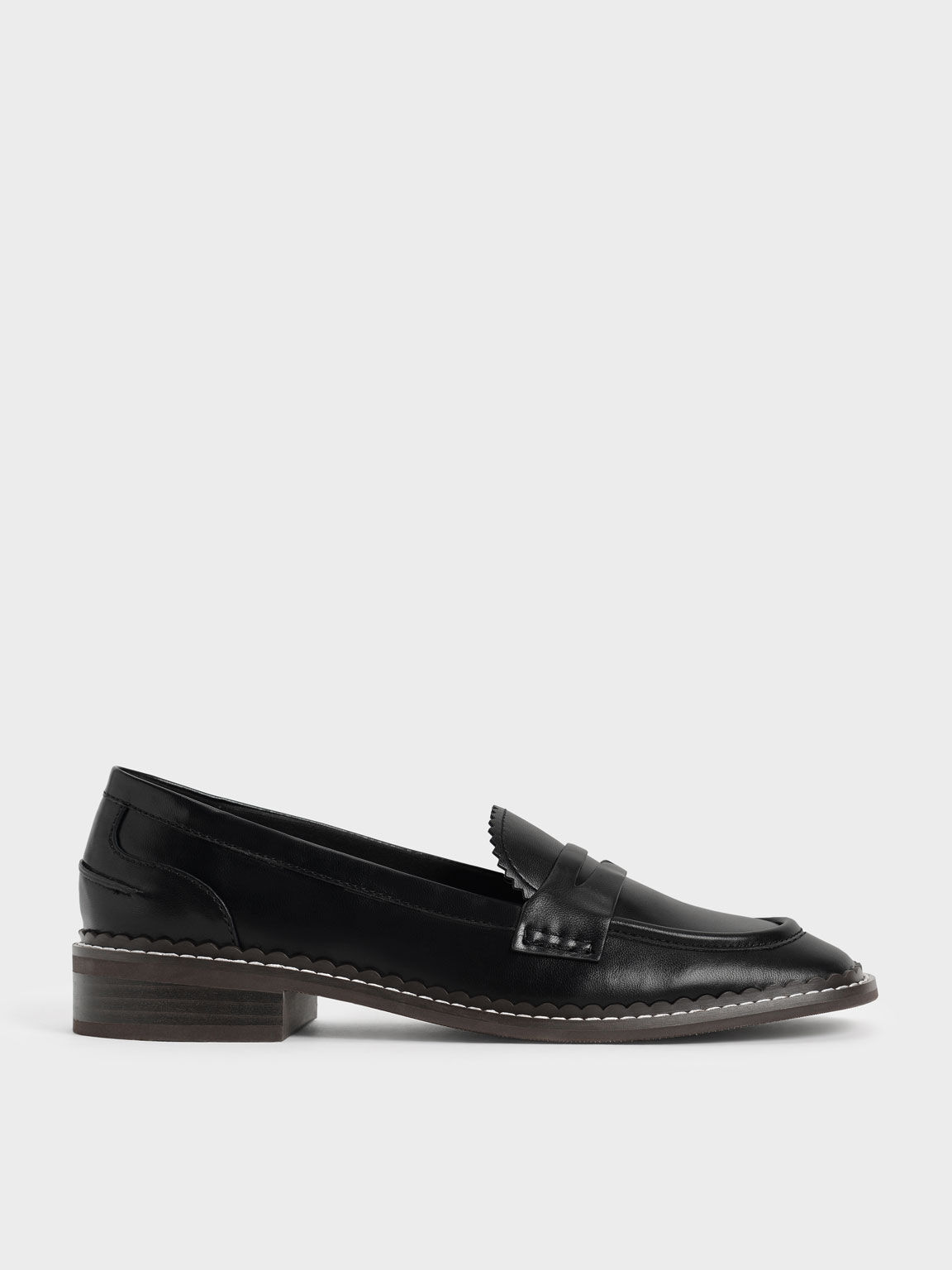 Scallop-Trim Penny Loafers, Black, hi-res