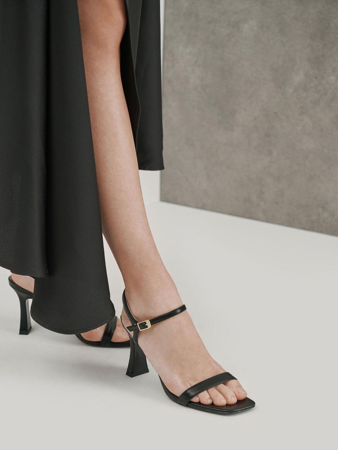Sculptural Heel Sandals, Black, hi-res