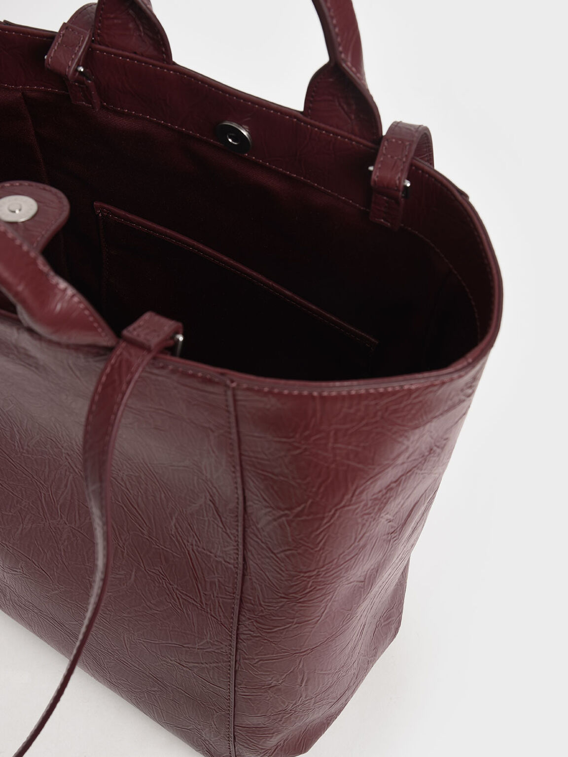 Wrinkled-Effect Double Top Handle Tote, Burgundy, hi-res