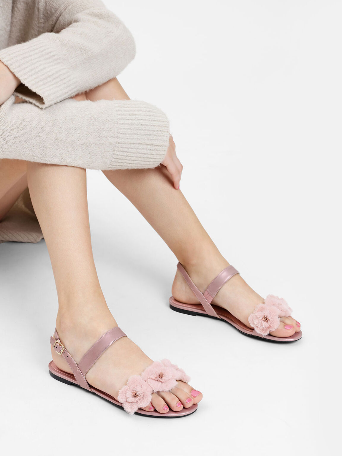 Furry Floral Detail Sandals, Rose Gold, hi-res