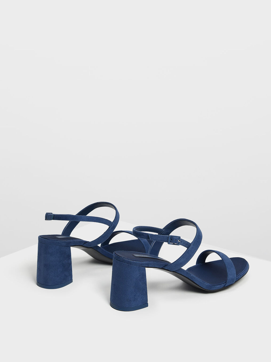 Flare Block Heel Sandals, Blue, hi-res