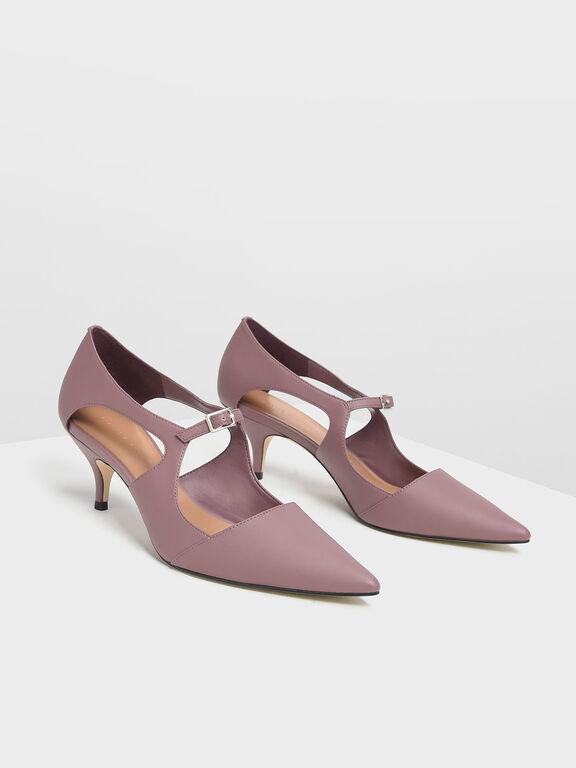 Front Buckle D'Orsay Heels, Purple