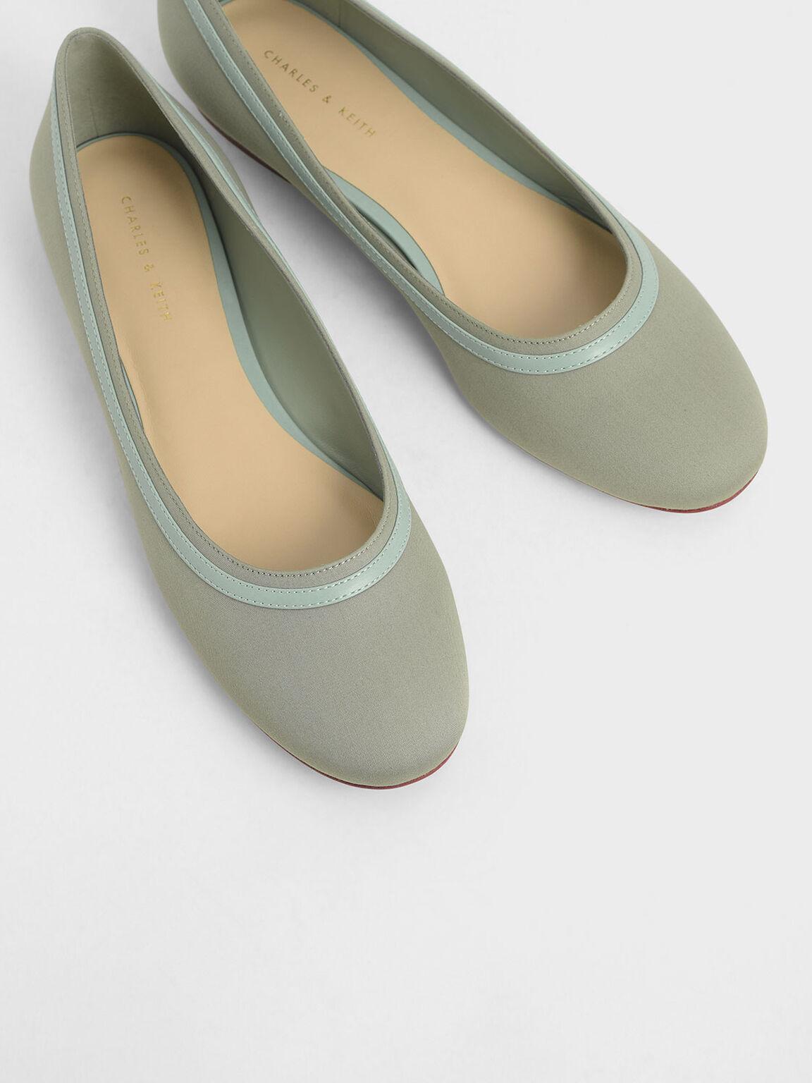 Round Toe Ballerina Flats, Green, hi-res