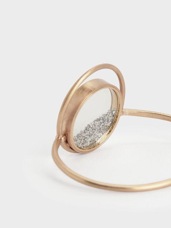 Silver Sparkling Sandstone Floating Locket Cuff Bracelet, Gold, hi-res