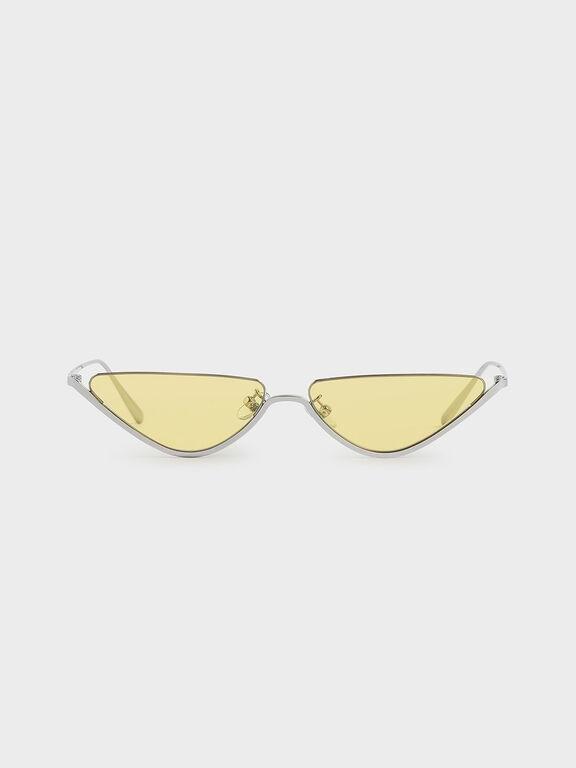 Thin Metal Frame Cat-Eye Sunglasses, Yellow