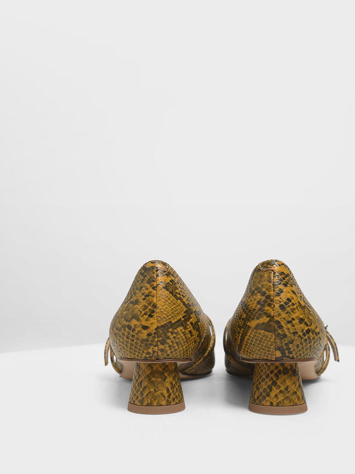 Snake Print Gem Embellished Cylindrical Heel Mary Jane Pumps, Yellow, hi-res