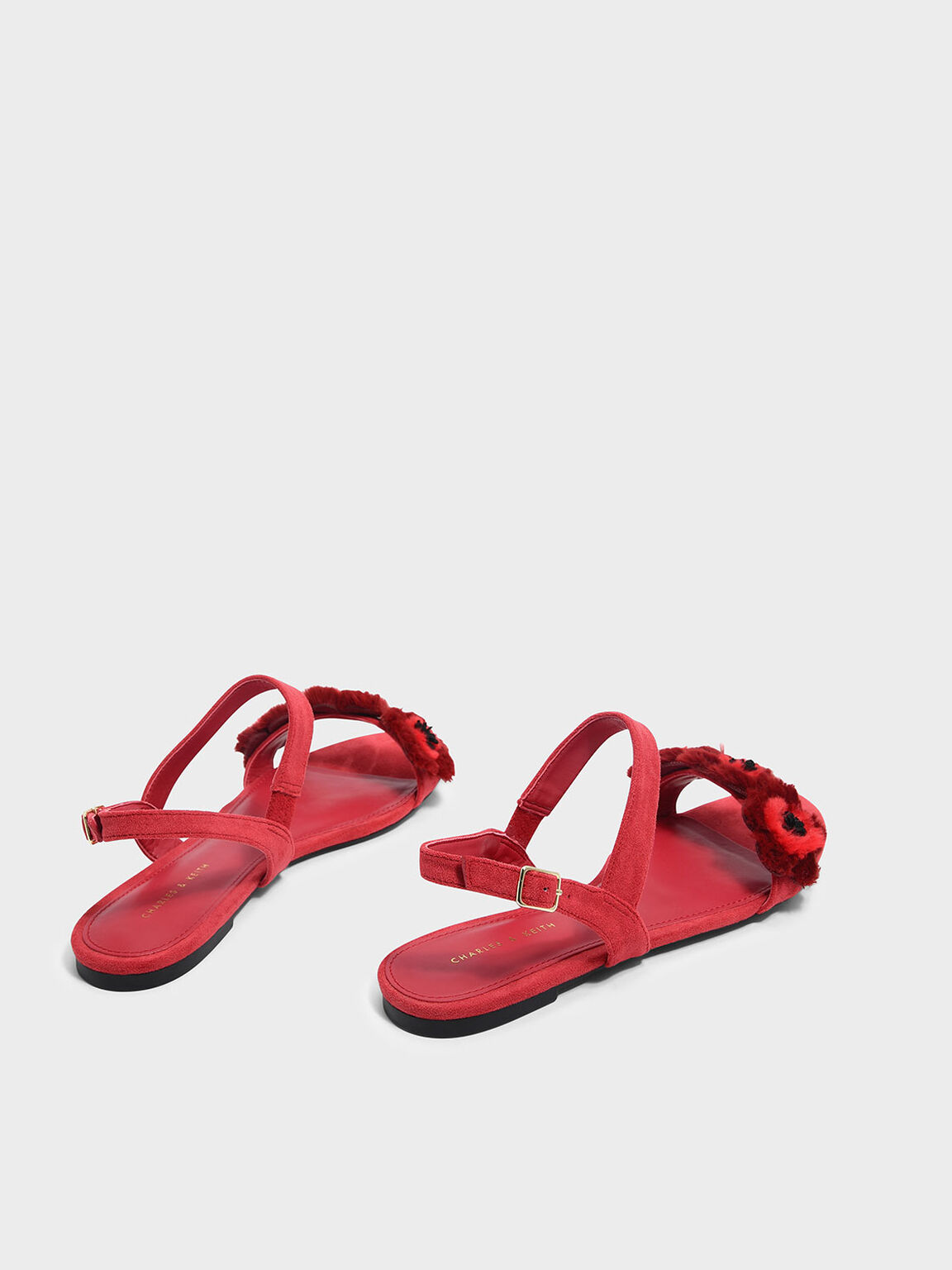 Furry Floral Detail Sandals, Red, hi-res