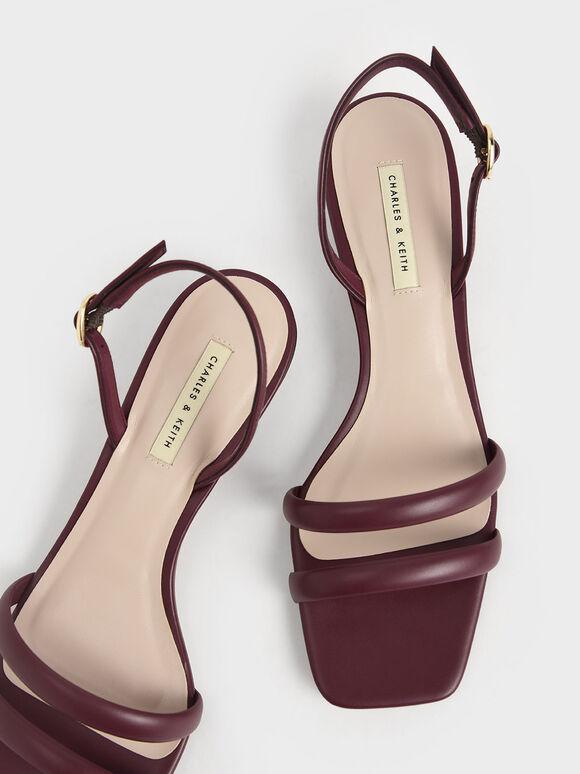 Tubular Slingback Sandals, Burgundy, hi-res