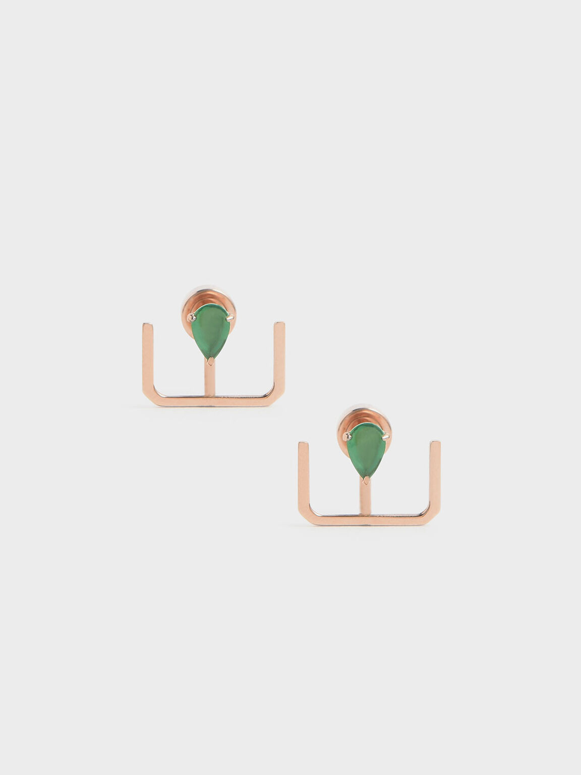Green Agate Stone Ear Climber Earrings, Rose Gold, hi-res