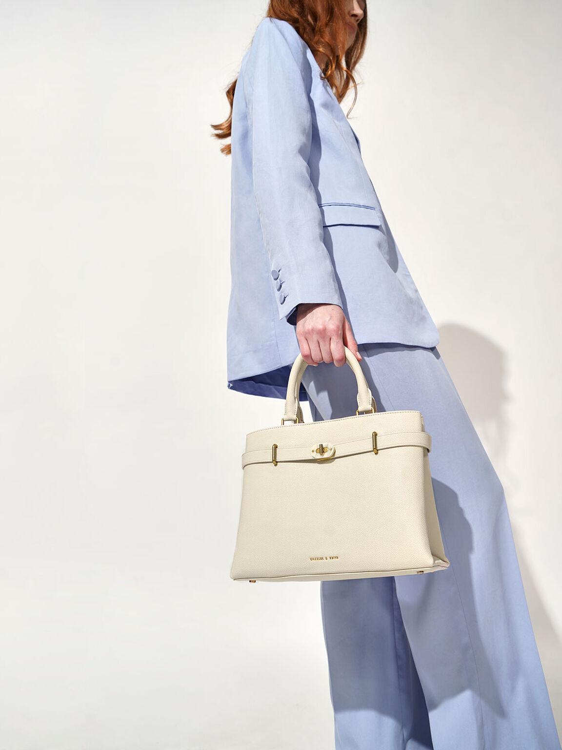 Large Turn-Lock Tote Bag, Cream, hi-res
