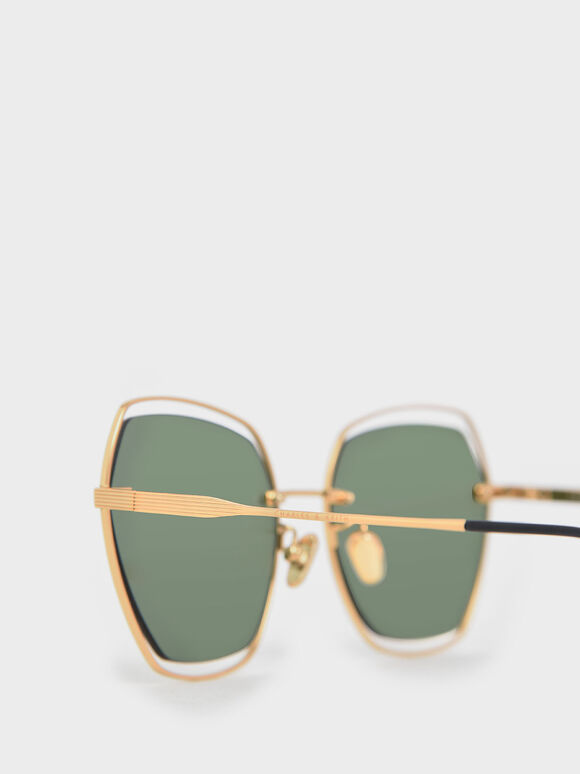 Double Wire Frame Butterfly Sunglasses, Green, hi-res