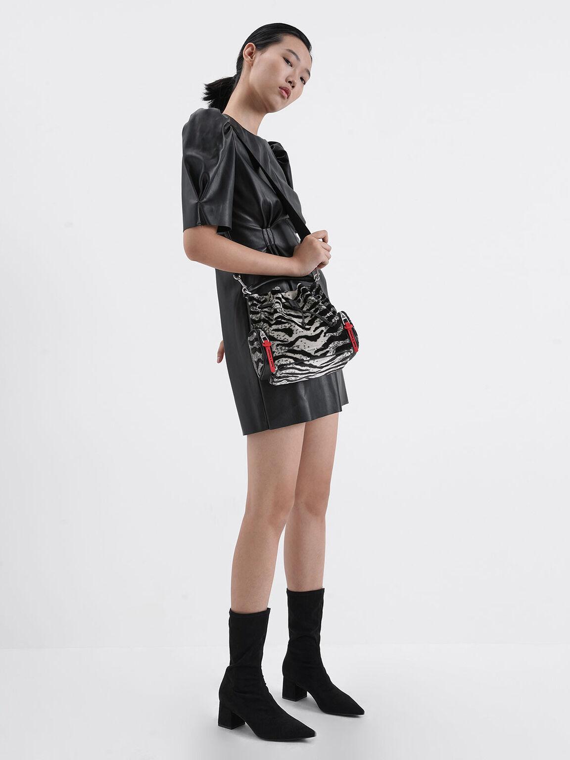 Textured Pointed Toe Calf Boots, Black, hi-res