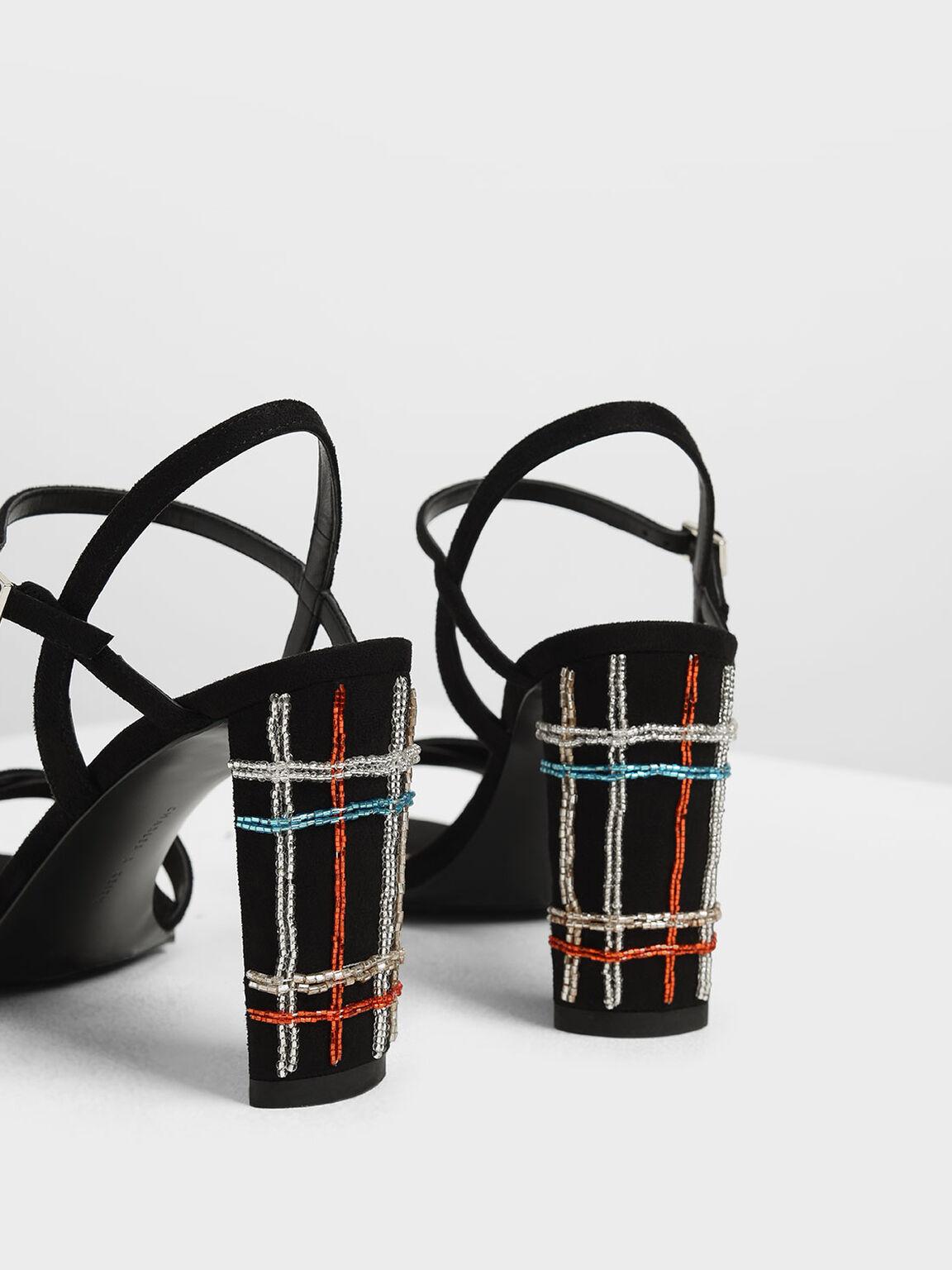 Embellished Curved Block Heel Strappy Sandals, Black, hi-res
