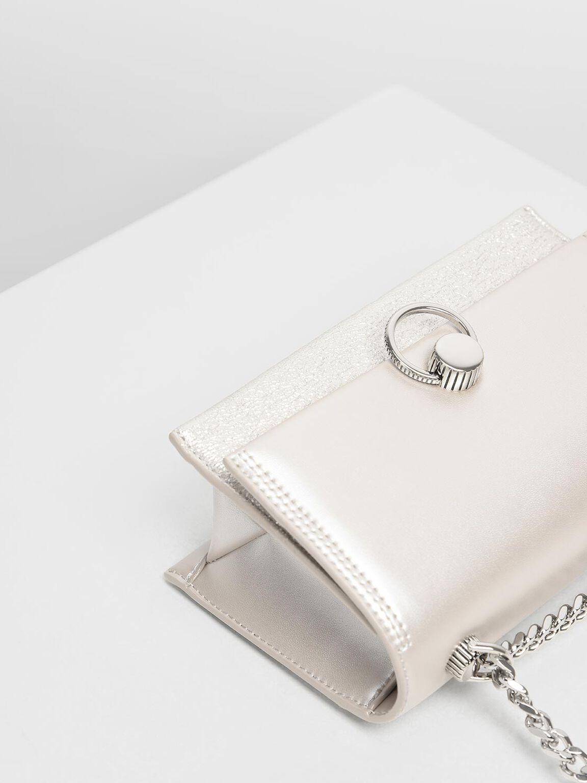 Metallic Ring Push Lock Bag, Pearl, hi-res