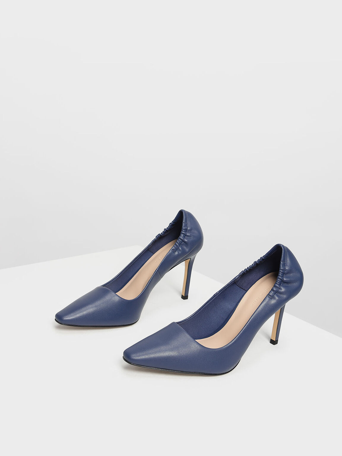 Side Ruched Pointed Toe Pumps, Dark Blue, hi-res