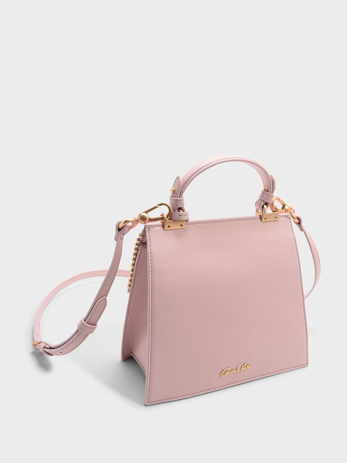 Bead Detail Leather Front Flap Bag, Pink, hi-res