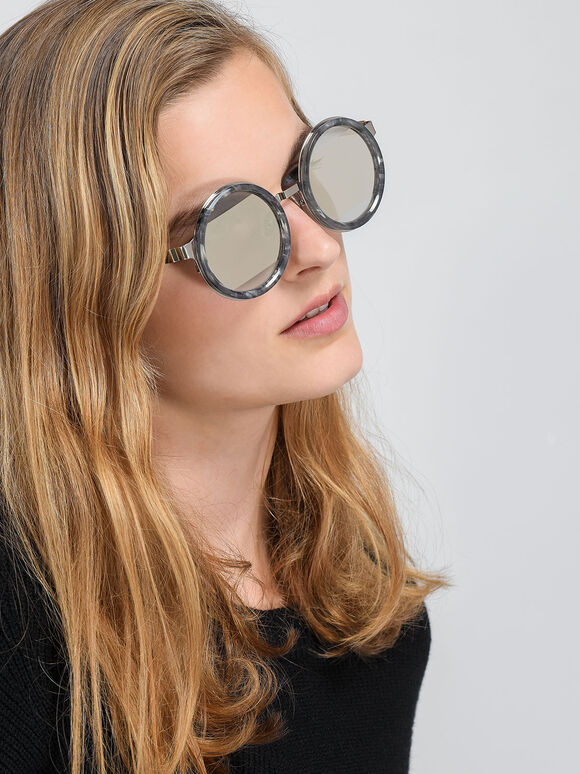 Round Frame Sunglasses, Grey, hi-res