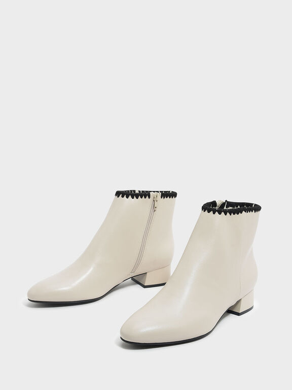 Whipstitch Trim Ankle Boots, Chalk, hi-res