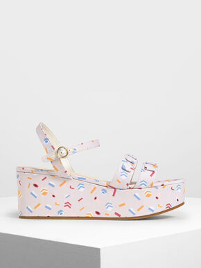 Double Strap Printed Fabric Flatform Sandals, Light Pink