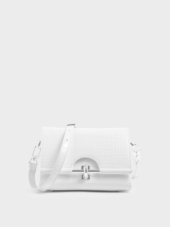 Croc-Effect Turn Lock Bag, White