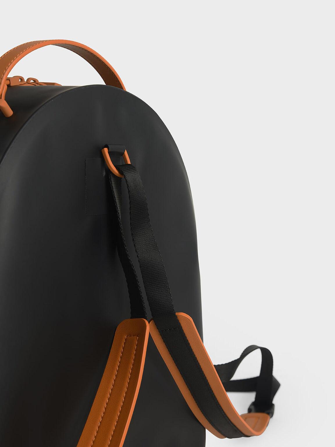 Front Zip Backpack, Black, hi-res