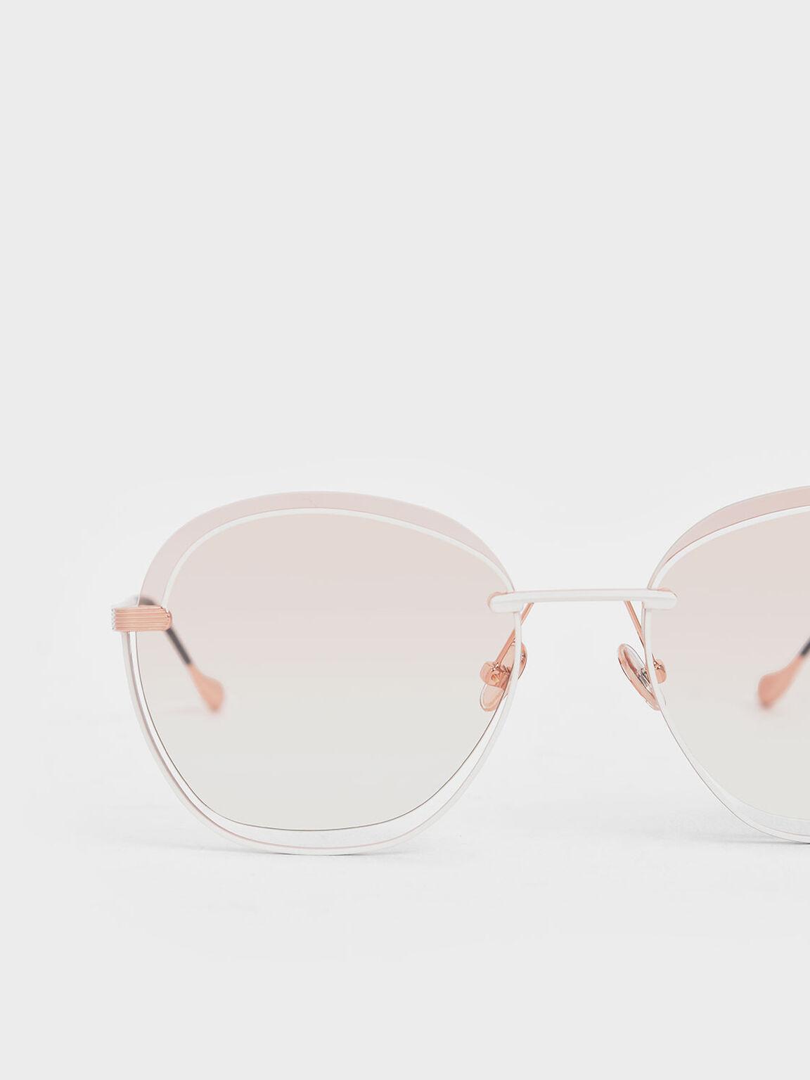 不對稱細框墨鏡, 橘色, hi-res