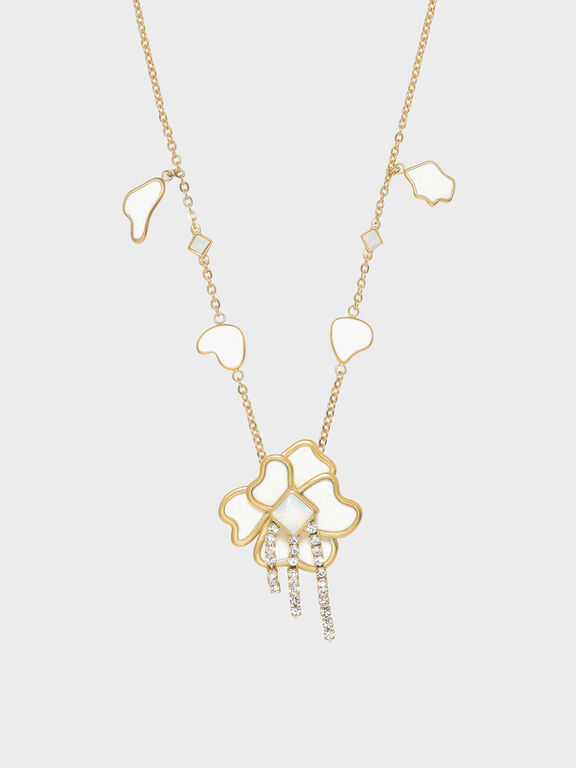 Crystal & Acrylic Petal Necklace, White