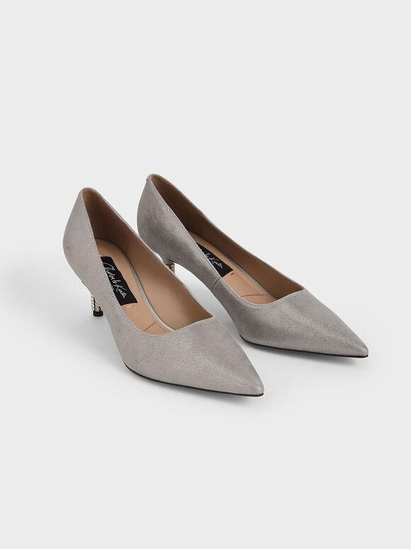 Metallic Leather Embellished Heel Pumps, Silver, hi-res