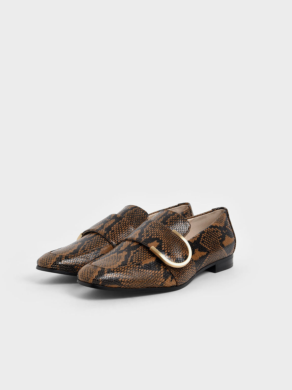 Leather Snake Print Loafers, Multi, hi-res