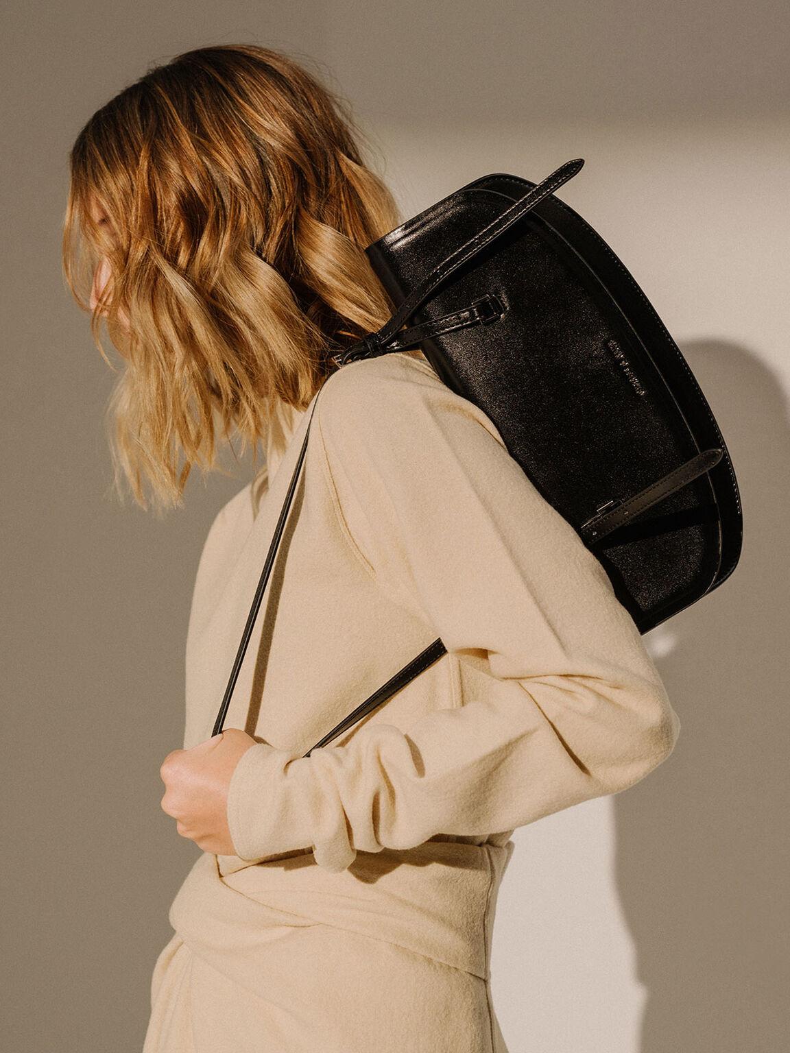 Single Handle Shoulder Bag, Black, hi-res