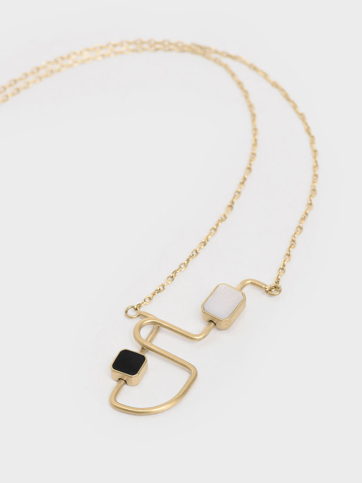 Mother Of Pearl Sculptural Necklace, Gold, hi-res
