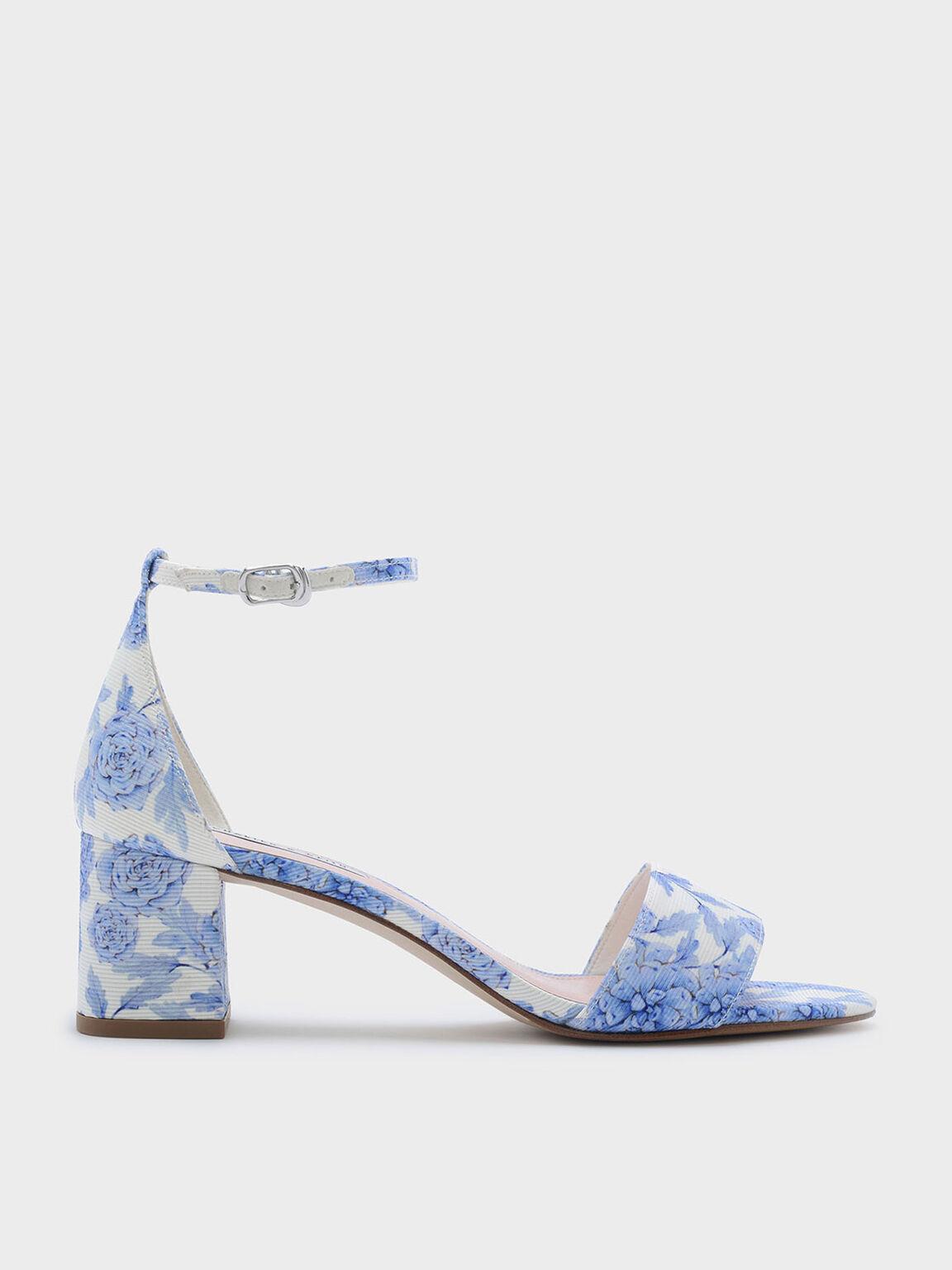 Ankle Strap Sandals, Blue, hi-res
