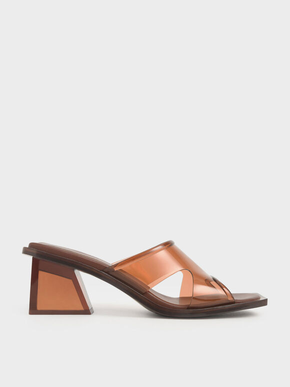 Acrylic Heel Mules, Brown, hi-res