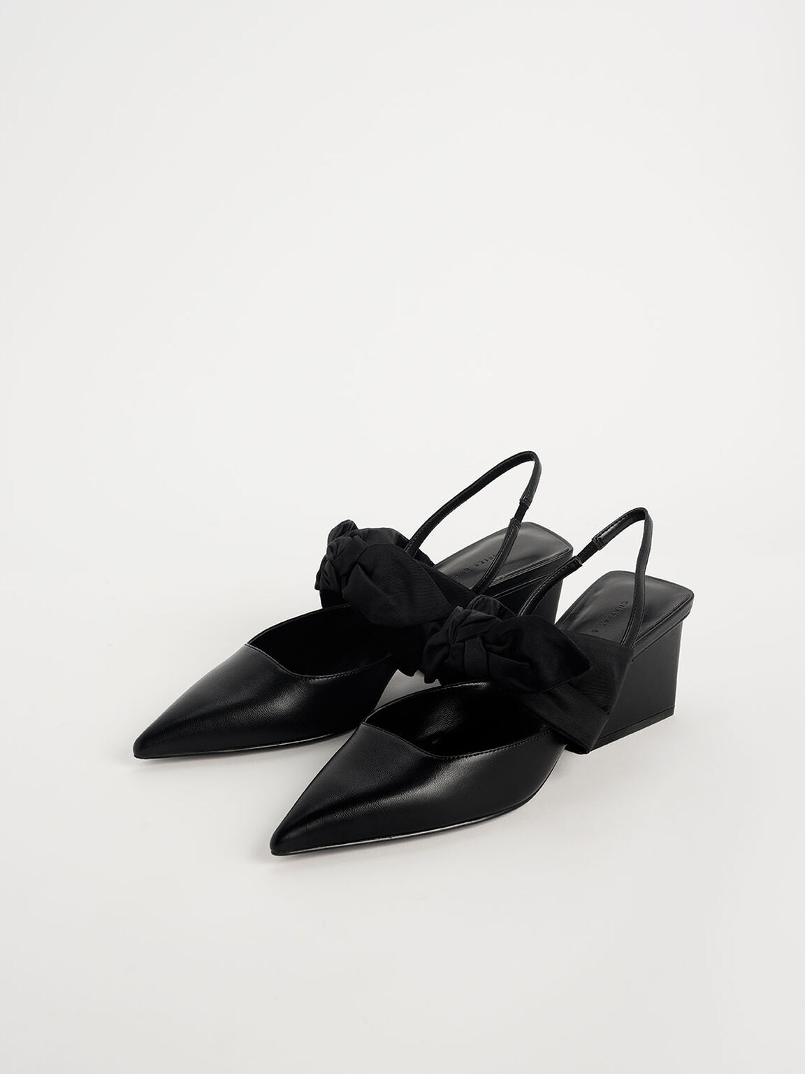 Grosgrain Bow Chunky Heel Slingback Pumps, Black, hi-res