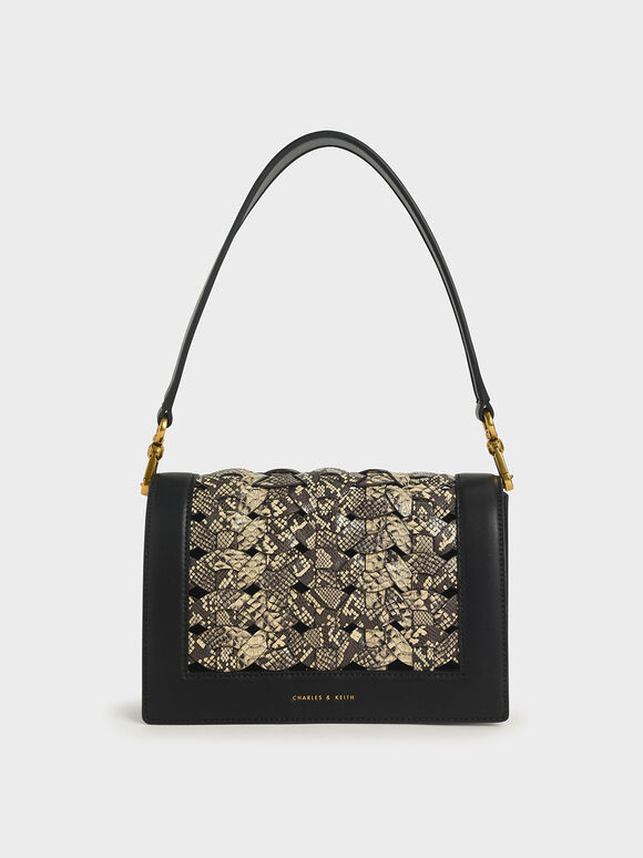 Snake Print Woven Shoulder Bag, Multi, hi-res