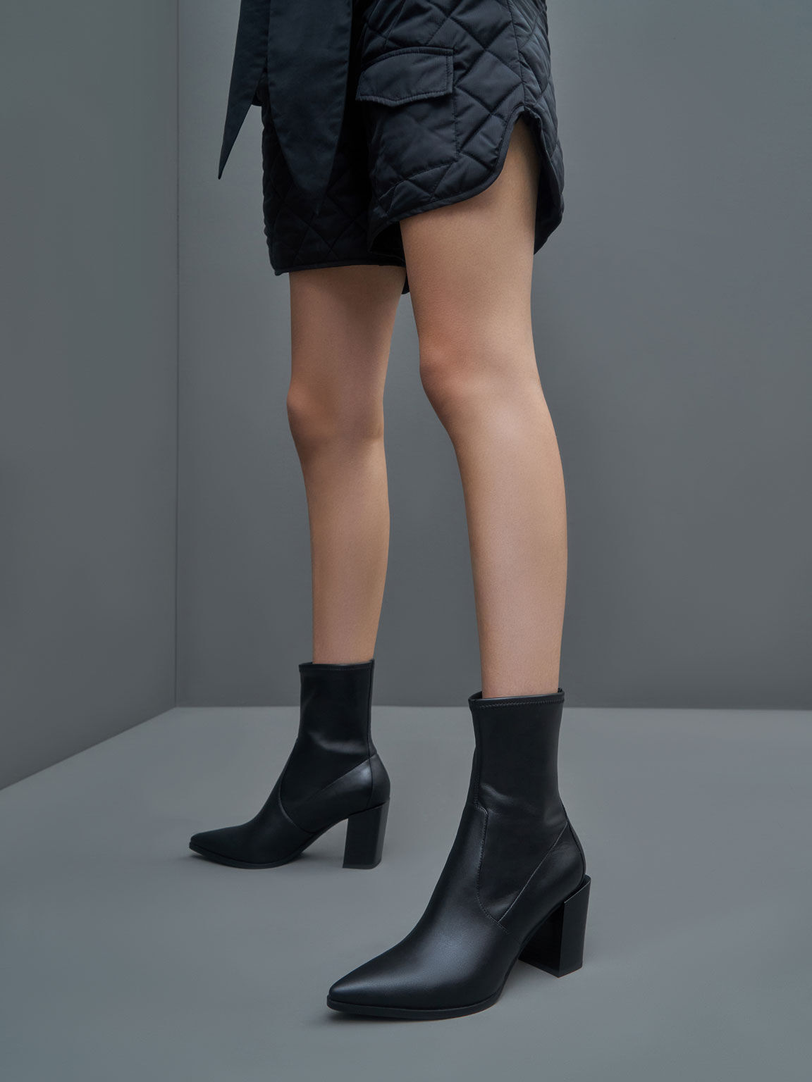 Slanted Block Heel Ankle Boots, Black, hi-res