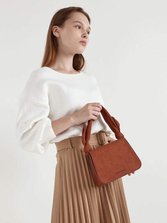 Textured Knot Handle Crossbody Bag, Clay