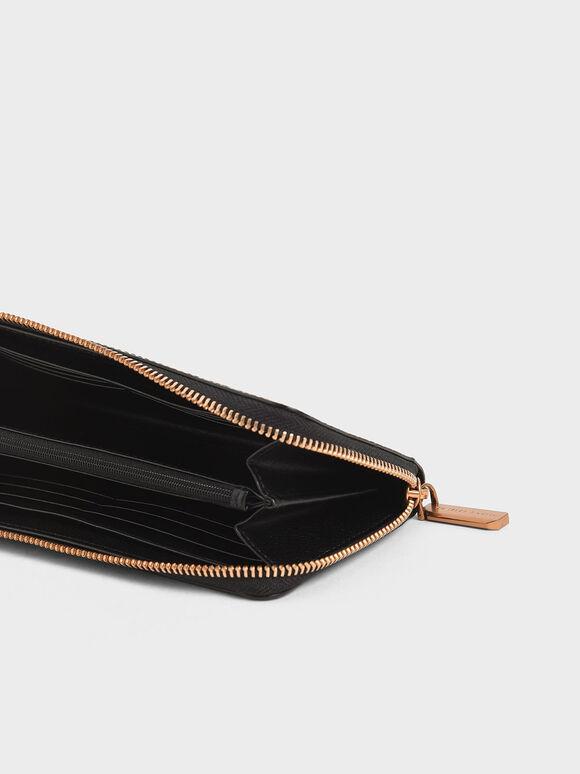 Croc-Effect Mini Long Wallet, Black, hi-res