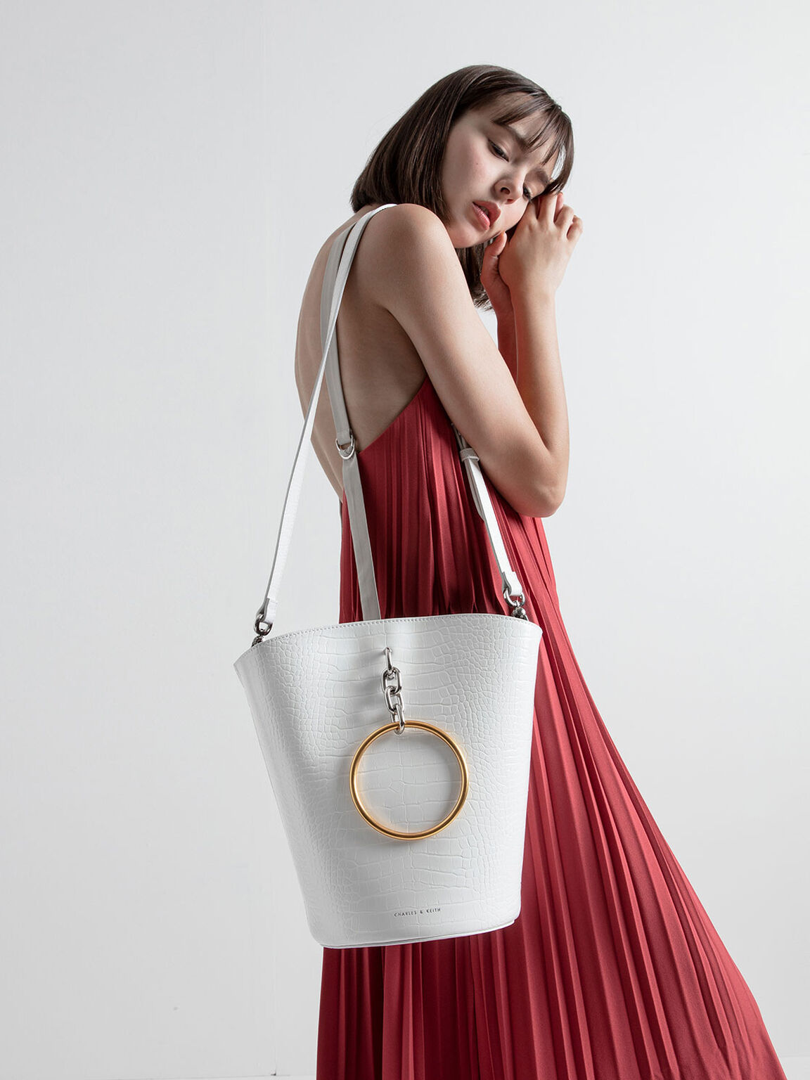 Croc-Effect Large Bracelet Bucket Bag, White, hi-res