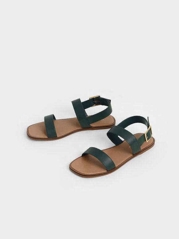Buckle Ankle Strap Flat Sandals, Green, hi-res