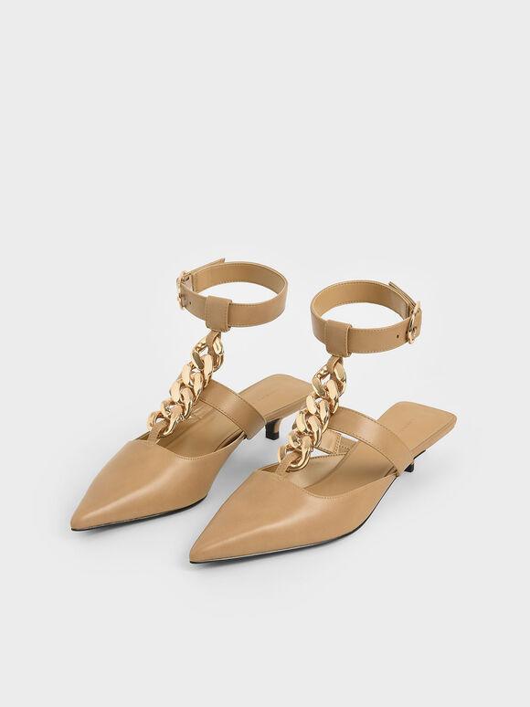 粗練繞踝尖頭鞋, 駝色, hi-res
