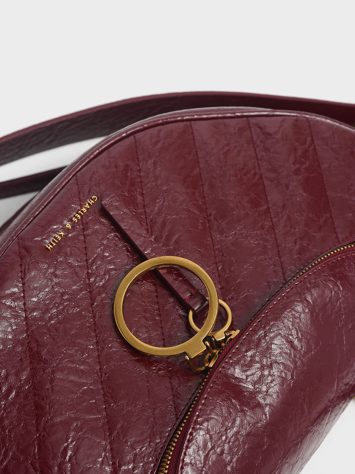 Wrinkled Effect Large Semi-Circle Crossbody Bag, Burgundy, hi-res