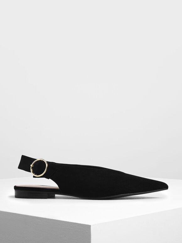 V-Cut Slingback Flats, Black Textured, hi-res