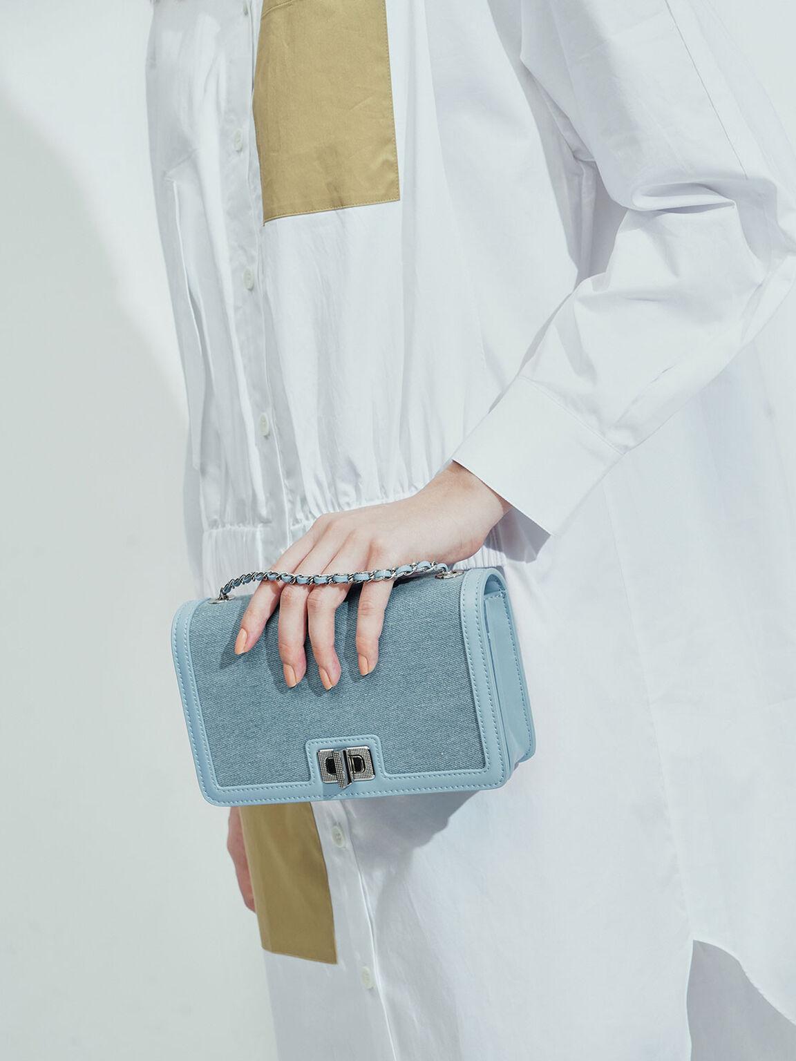 Textured Turn-Lock Clutch, Denim Blue, hi-res
